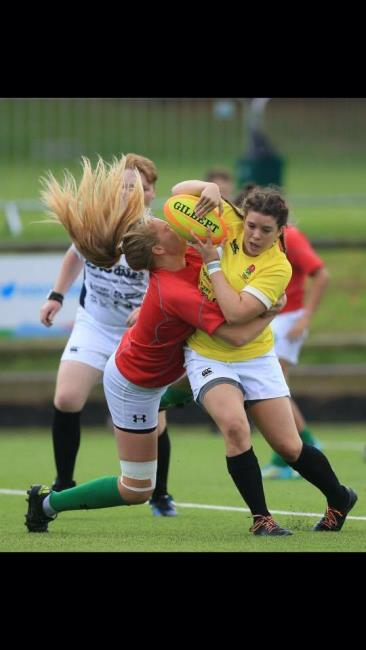 Carys puts in a big tackle